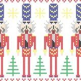 Modello nordico di Natale senza cuciture dei soldati delle schiaccianoci in punto trasversale Immagine Stock