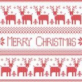Modello nordico ispirato scandinavo di Buon Natale con 2 file dello zoccolo della renna, fiocchi di neve, alberi, ornamenti decor Fotografie Stock Libere da Diritti