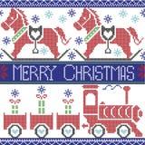 Modello nordico senza cuciture scandinavo di Buon Natale blu scuro, rosso, blu-chiaro, nero, rosso e verde con il treno di sugo,  Immagine Stock