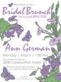 Modello nuziale di vettore dell'invito del brunch della doccia nuziale con i fiori e la farfalla nello stile floreale royalty illustrazione gratis