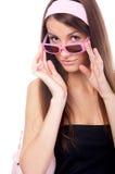 Modello in occhiali da sole dentellare fotografia stock libera da diritti