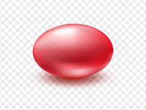 Modello oleoso liquido rosso della capsula con il gel antibiotico e medico, il gel della vitamina o l'essenza cosmetica isolata s illustrazione di stock