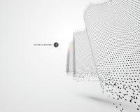 Modello ondulato composto di particelle, illustrazione di scienza e tecnologia royalty illustrazione gratis