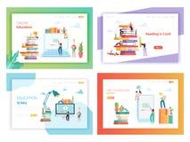 Modello online della pagina di atterraggio di concetto di istruzione illustrazione vettoriale
