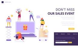 Modello online della pagina di atterraggio di vendita del deposito Negozio della donna online facendo uso del computer portatile  illustrazione vettoriale