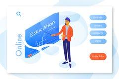 Modello online di vettore della pagina di atterraggio di istruzione illustrazione vettoriale