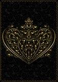 Modello openwork dell'oro sotto forma di cuore Fotografie Stock