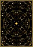 Modello orientale dell'oro decorativo su un fondo nero Fotografia Stock