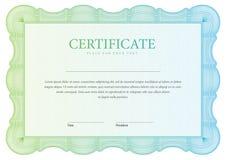 Modello orizzontale dei diplomi e del certificato Fotografie Stock Libere da Diritti