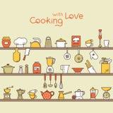 Modello orizzontale senza cuciture con gli scaffali della cucina pieni di vari elementi e strumenti della cucina royalty illustrazione gratis