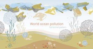 Modello orizzontale senza cuciture con i coralli, le alghe, il pesce e le stelle marine royalty illustrazione gratis