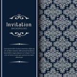 Modello ornamentale dell'invito di nozze dell'oro, ornamenti dell'invito della cartolina d'auguri immagine stock