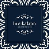 Modello ornamentale dell'invito di nozze dell'oro, ornamenti dell'invito della cartolina d'auguri fotografie stock