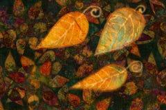 Modello ornamentale variopinto del fondo con il collage delle foglie di autunno Immagini Stock