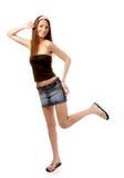 Modello in pannello esterno dei jeans Immagine Stock