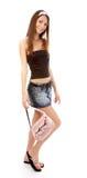 Modello in pannello esterno dei jeans Immagini Stock
