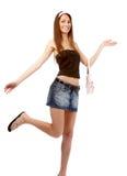 Modello in pannello esterno dei jeans fotografia stock libera da diritti