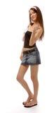 Modello in pannello esterno dei jeans fotografia stock