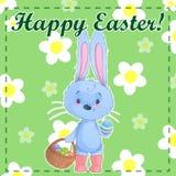 Modello Pasqua felice della cartolina di saluto con il coniglietto sveglio del fumetto che tiene le uova di Pasqua su un fondo ve illustrazione vettoriale