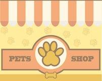 Modello per cura di animale domestico, negozi di progettazione di logo di vettore Fotografia Stock