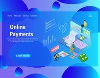 Modello per i pagamenti online, computer portatile di progettazione della pagina Web con una fattura di carta illustrazione di stock