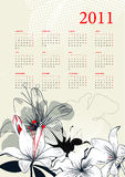 Modello per il calendario 2011 Immagine Stock