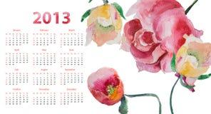 Modello per il calendario 2013 Immagine Stock