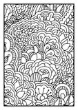 Modello per il libro da colorare Fondo in bianco e nero con gli elementi floreali, etnici, disegnati a mano per progettazione Fotografia Stock Libera da Diritti