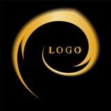 Modello per il logotype Turbinio dorato, fondo astratto Adatto ad etichette, insegne, distintivi, manifesti, autoadesivi Immagine Stock
