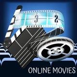 Modello per il manifesto, il sito Web ed il film online Dettagli della bobina del petardo del film Immagini Stock Libere da Diritti