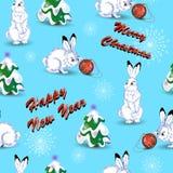 Modello per il Natale ed il nuovo anno con le lepri bianche, un albero di Natale e fiocchi di neve illustrazione di stock