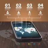 Modello per infographic con il telefono cellulare fotografia stock libera da diritti