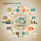 Modello per infographic per tecnologie informatiche della nuvola Immagini Stock Libere da Diritti