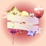 Modello per l'invito, biglietto di auguri per il compleanno cartolina con il ribbo rosa Immagine Stock