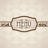 Modello per la carta del menu con la coltelleria Fotografia Stock