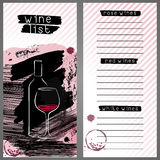 Modello per la lista di vino, la carta del menu della barra o l'assaggio di vino Immagine Stock