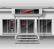 Modello per la pubblicità della facciata della parte anteriore del deposito 3d Negozio esteriore con la porta, identità corporati royalty illustrazione gratis