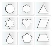 Modello per le forme geometriche semplici con ombra interna - cerchio, esagono, triangolo, stella, cuore, goccia, pentagono, trap Fotografia Stock Libera da Diritti