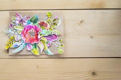 Modello per le presentazioni con i fiori di carta dell'acquerello Fotografia Stock
