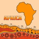 Modello per progettazione nello stile africano Elementi tradizionali africani dei modelli etnici Titolo riempito di ornamenti Sil illustrazione di stock