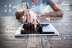 Modello per testo, fondo di schermo virtuale Affare, tecnologia di Internet e concetto della rete fotografia stock