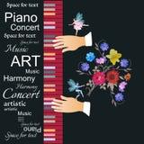 Modello per un bello manifesto musicale con testo astratto, tastiera multicolore, mani del musicista, mazzo di bei fiori illustrazione di stock