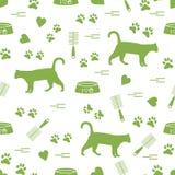 Modello piacevole del gatto di camminata della siluetta, tracce, cuori, ciotola e royalty illustrazione gratis