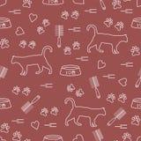 Modello piacevole del gatto di camminata della siluetta, tracce, cuori, ciotola e illustrazione di stock