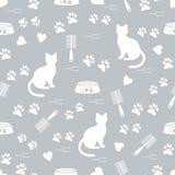 Modello piacevole del gatto di seduta della siluetta, tracce, cuori, ciotola e illustrazione vettoriale