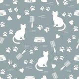 Modello piacevole del gatto di seduta della siluetta, tracce, cuori, ciotola e illustrazione di stock