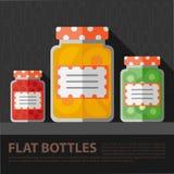 Modello pianamente casalingo della bottiglia dell'inceppamento di colore di vettore Immagini Stock