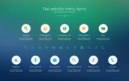 Modello piano del menu di web design con i colori solidi Immagini Stock Libere da Diritti
