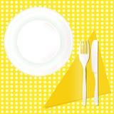 Modello piano della tavola del piatto di cena del coltello della forcella Immagine Stock Libera da Diritti