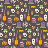 Modello piano delle icone di Halloween Oggetti di Halloween sul backgrou scuro royalty illustrazione gratis